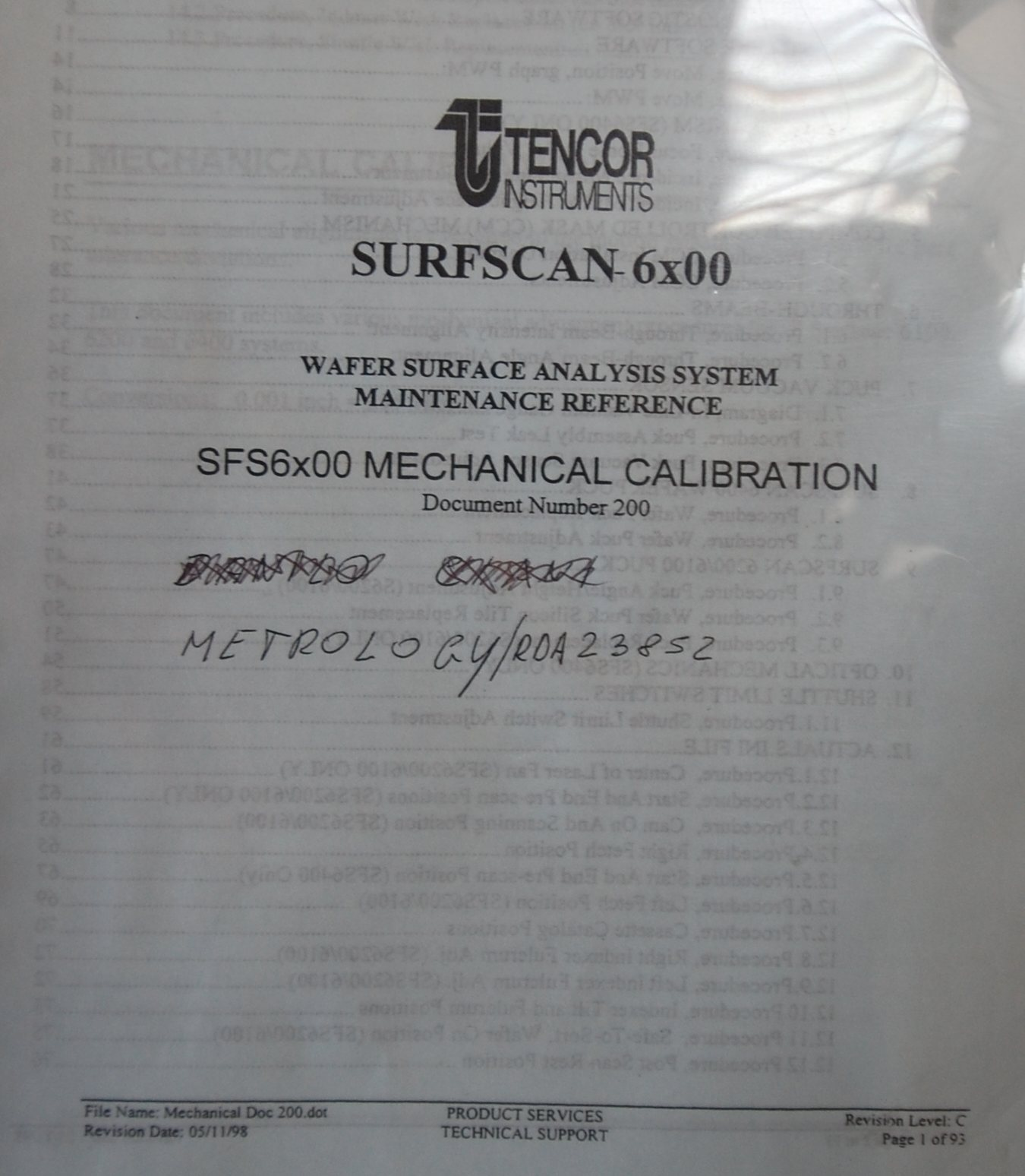 KLA TENCOR SFS6x00 MECHANICAL CALIBRATION Document number 200