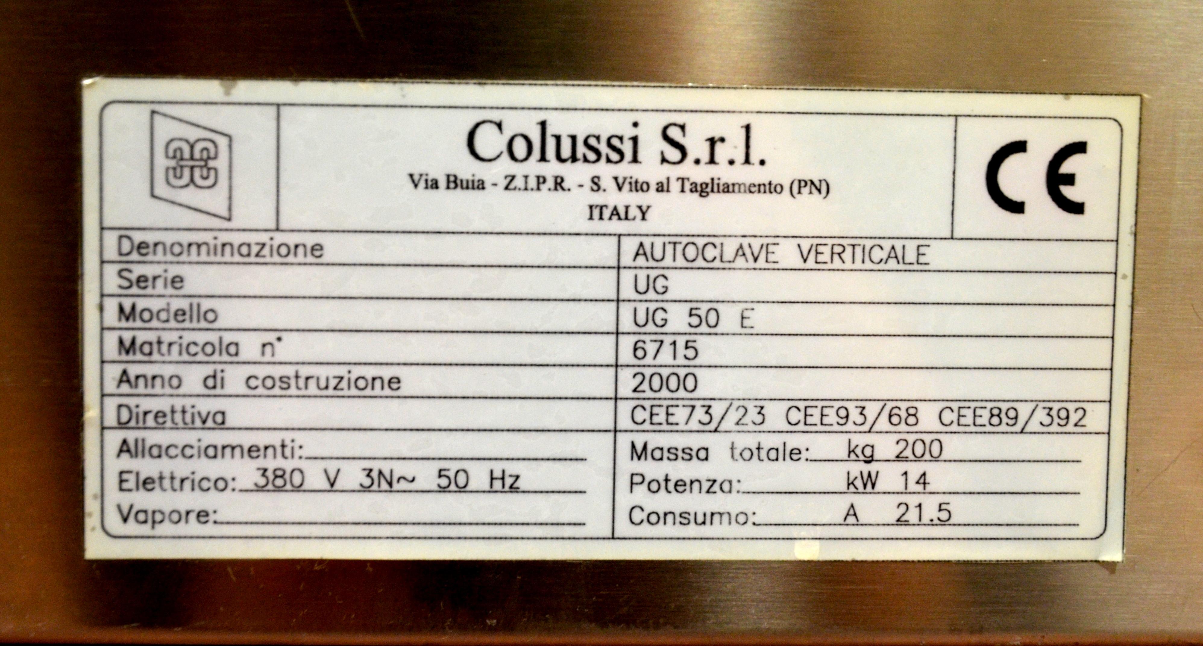 COLUSSI UG 50 E AUTOCLAVE FOR STERILIZATION for sale